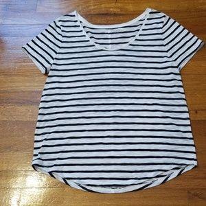 LOFT Tops - Loft Short Sleeve Black and White Striped Tee